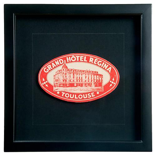 Framed Hotel Regina Luggage Label