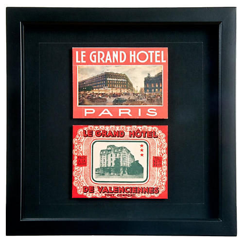 Famed French Grand Hotel Luggage Labels
