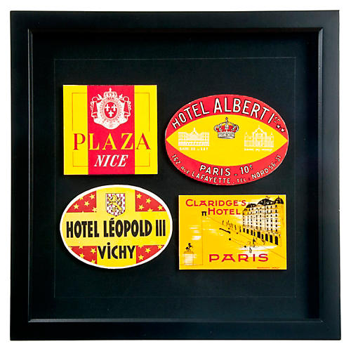 Four Framed French Hotel Luggage Labels