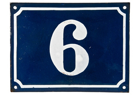 French Enamel House Number, 6/9