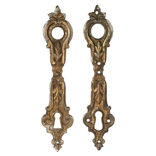 French Bronze Door Escutcheon Plates, Pr