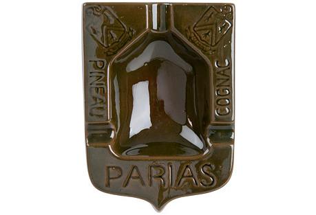 French Parias Glazed Terra Cotta Ashtray