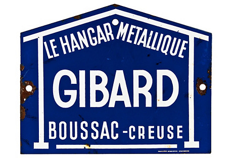French Gibard Porcelain Enamel Sign