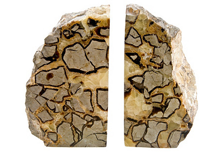 Polished Septarian Stone Bookends, Pair