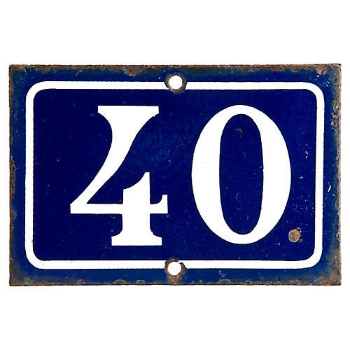 French Enamel House Number 40