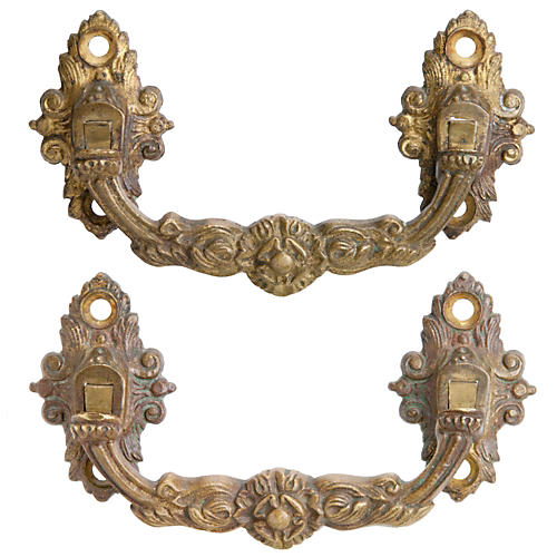 French Gilded Brass Piano Handles, Pr.