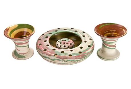 Nemadji-Style Pottery Set, 4 Pcs