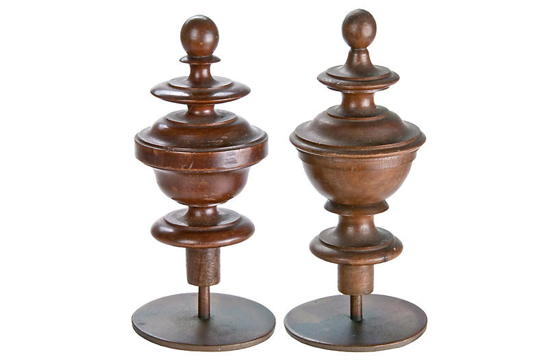 French Wood Finials on Iron Stands, S/2