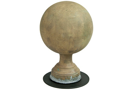 French Brass Ball Finial On Stand