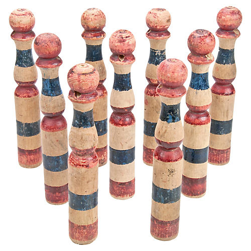 French Wood Skittles, Set Of 9