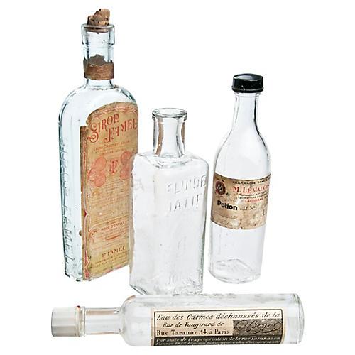 French Pharmacy Bottles, S/4