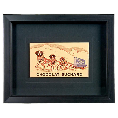 Framed French Chocolate Postcard
