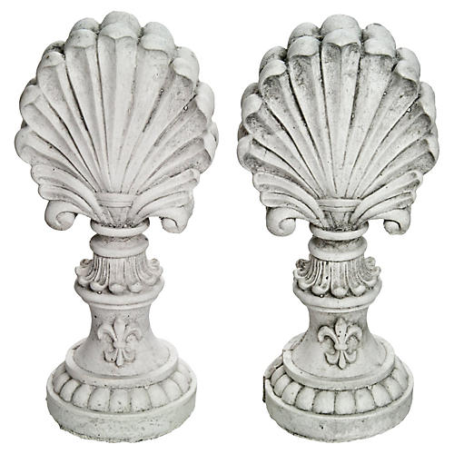 Concrete Shell Finials, S/2