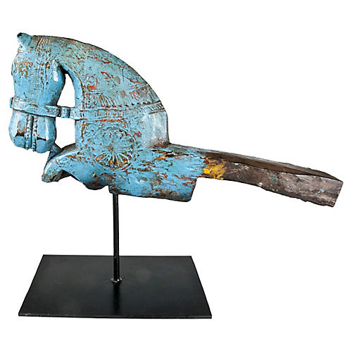 Blue Hand-Carved Horse on Stand