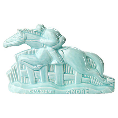 French Art Deco Majolica Horse Figurine