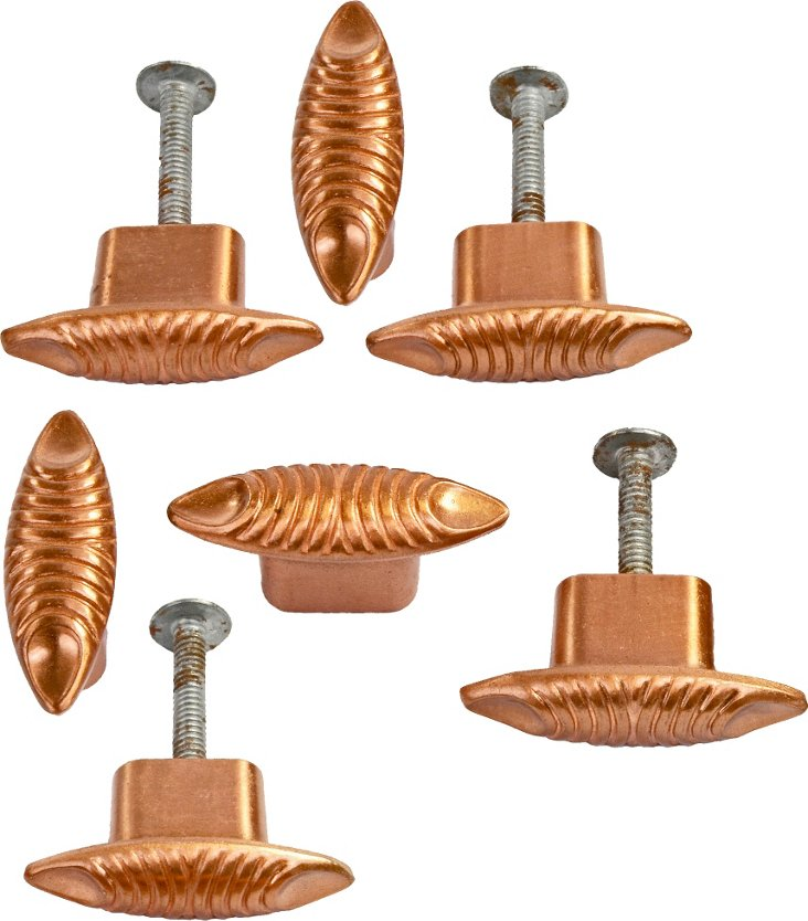 Midcentury Copper Drawer Pulls, Set of 7