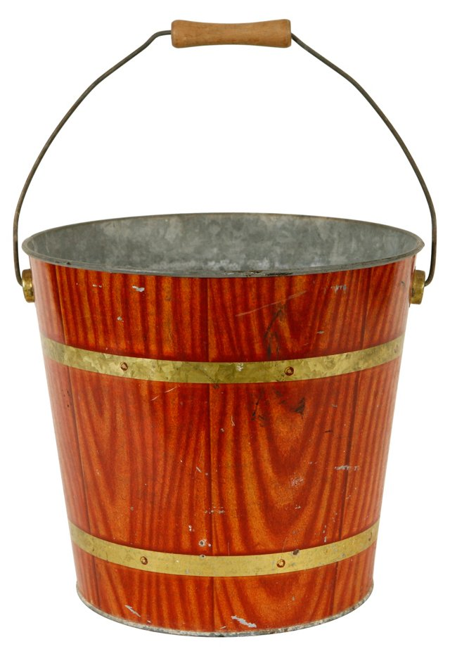 Faux-Wood Painted Metal Pail
