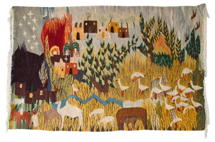 Egyptian Pastoral Tapestry, 4' x 6'