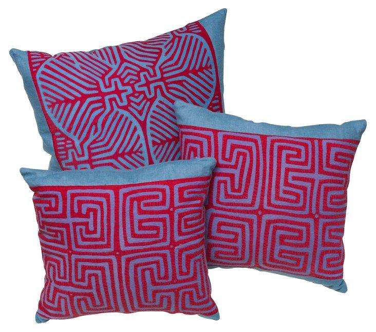 Panamanian Mola Appliqué Pillows, S/3
