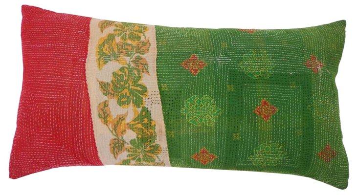Red & Green Kantha   Pillow