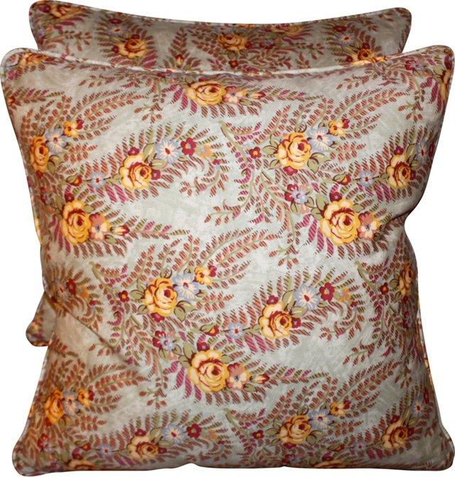 Ralph Lauren Fabric Floral Pillows, Pair