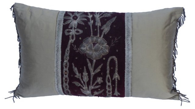 Metallic Embroidered Velvet Pillow