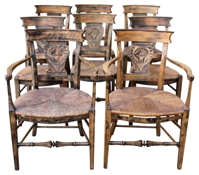 French Country-Style Dining Chairs, S/8