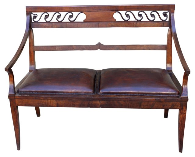 19th-C. Carved Wood & Leather Bench