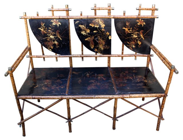 English Chinoiserie Bamboo Bench