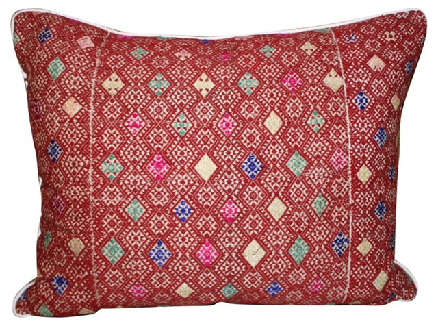Embroidered Hmong Textile Pillow