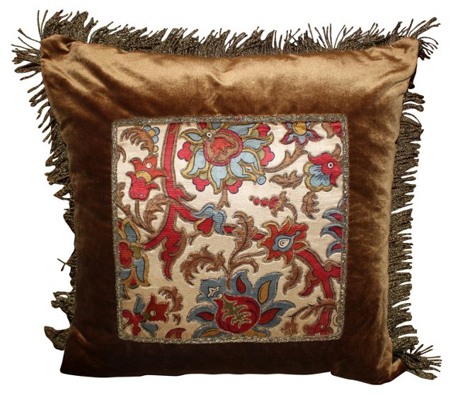 Pillow w/  19th-C. Embroidered Textile