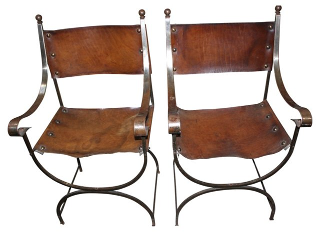 Leather & Steel Chairs, Pair