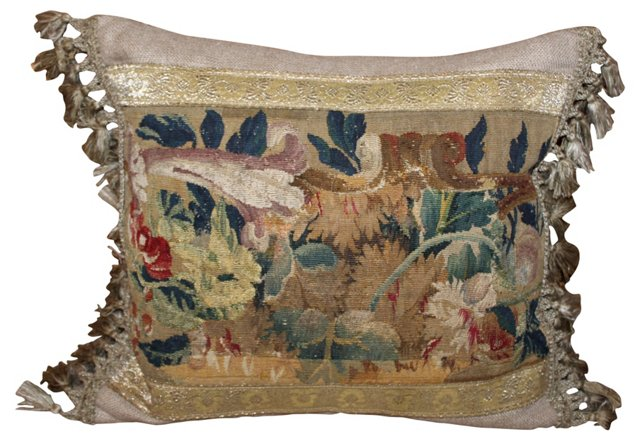 18th-C. French Tapestry  Pillow