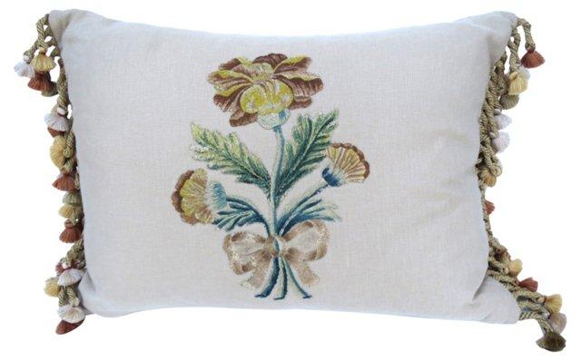 Linen Pillow w/ Antique Appliqué