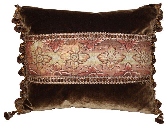 Velvet Pillow w/ 18th-C.     Tapestry