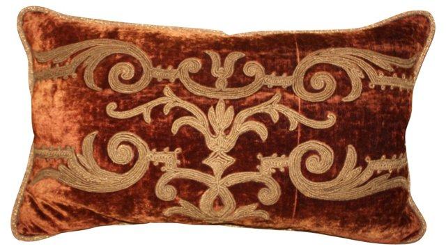 Pillow w/ 19th-C. French Velvet
