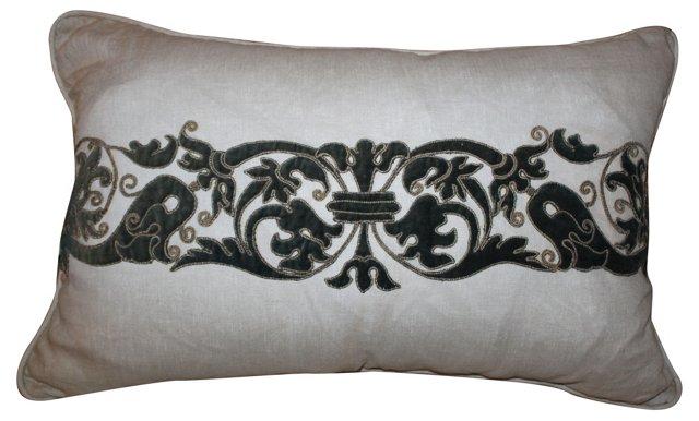 Linen Pillow w/ Acanthus Leaf Appliqué