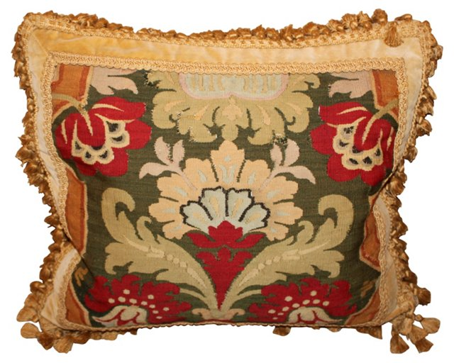 Pillow w/ 19th-C. Tapestry