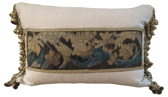 Linen Pillow w/ 18th-C.    Tapestry