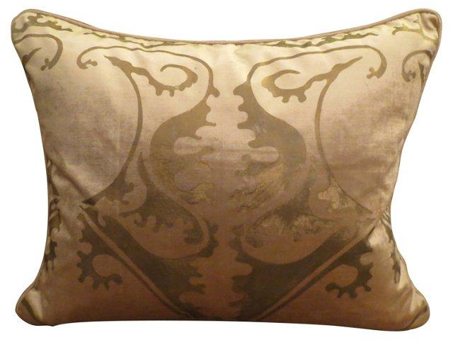 Pillow w/ Soft Pink Stenciled Velvet