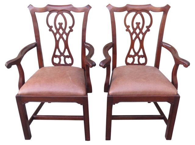 Chippendale-Style Leather Chairs, Pair
