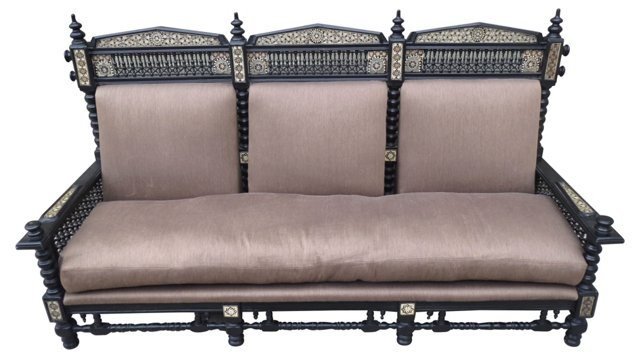 Antique Inlaid Sofa w/ Down Cushions
