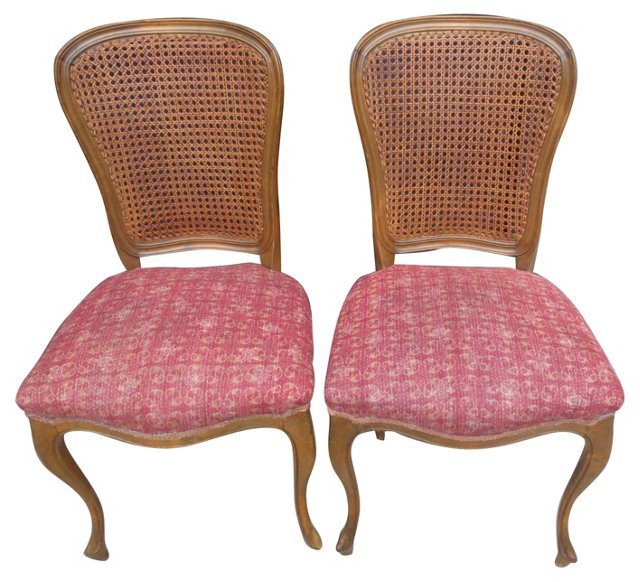 Caned-Back Chairs w/ Kantha Seats, Pair
