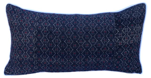 Pillow w/   Embroidered Blue Textile