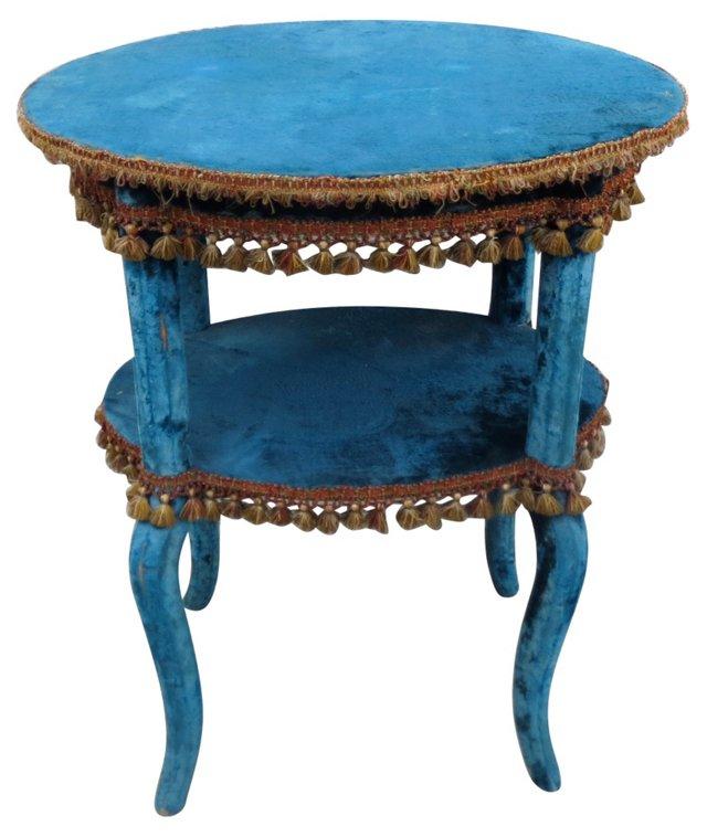 2-Tier Turquoise Velvet Table