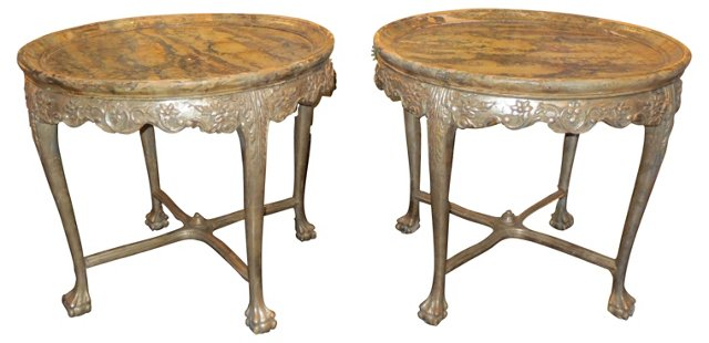 Italian Silver-Painted Tables, Pair