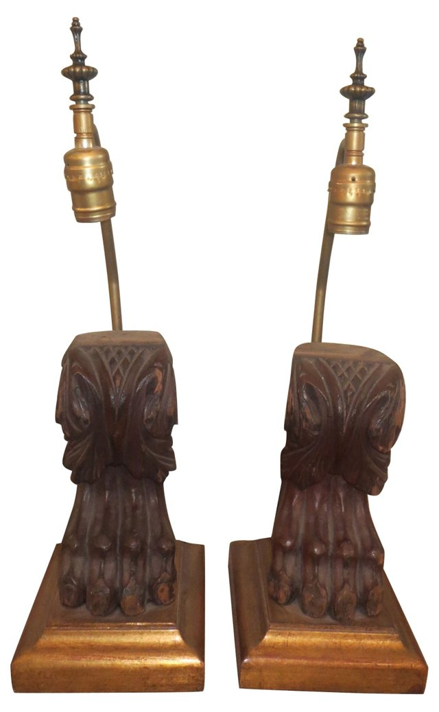 Carved Walnut Paw Lamps, Pair