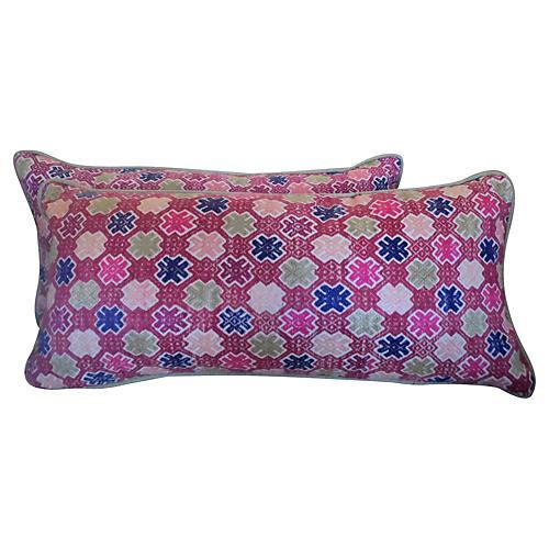 Pink Hmong Pillows, Pair