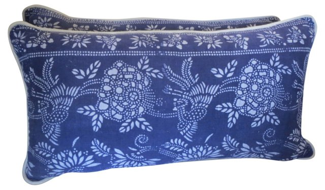 White & Blue Batik Pillows, Pair