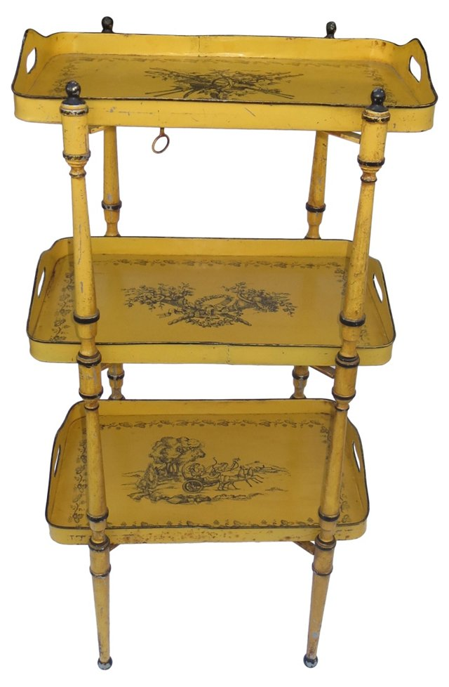 Italian Painted Tole 3-Tray Table